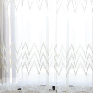Wave Some Magic White Geometric Wave Voile Curtain 4