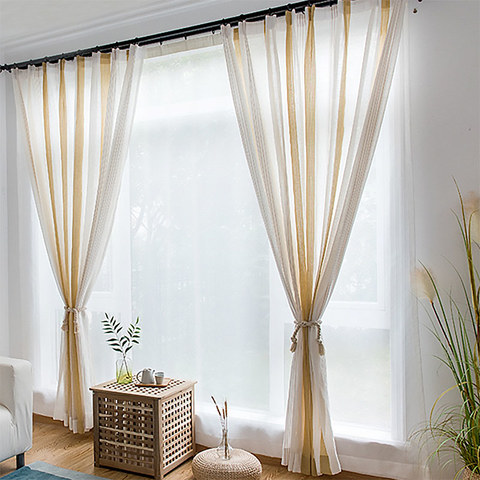 Sheer Curtain Sunnyside Luxury Linen Yellow Striped Voile Curtains 3