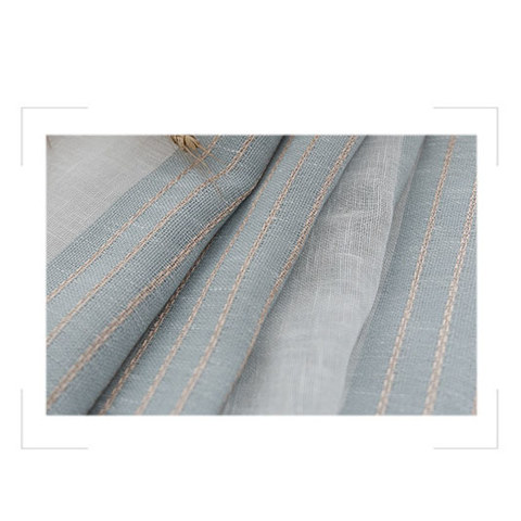 Sheer Curtain Sunnyside Luxury Linen Light Blue Grey Striped Voile Curtains 6