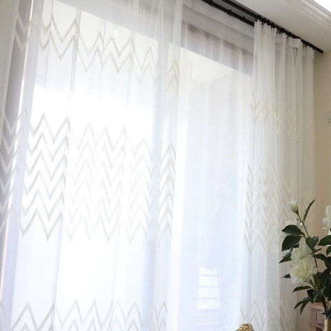 Wave Some Magic White Geometric Wave Voile Curtain 5