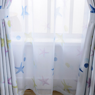 Sheer Curtain Starfish Baby Blue Voile Curtain 1