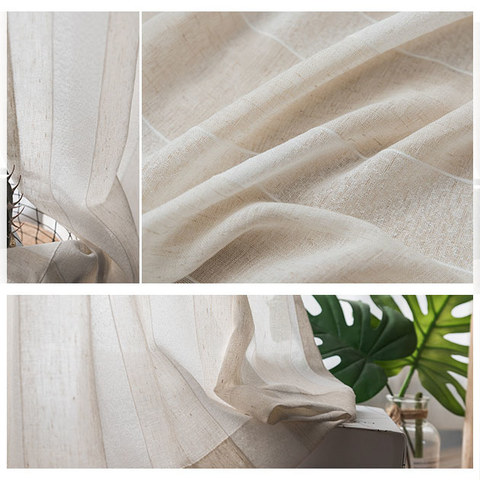 Sheer Curtain Natures Hug Linen Style Strip Voile Curtain 4