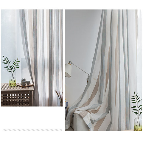 Sheer Curtain Sunnyside Luxury Linen Light Blue Grey Striped Voile Curtains 5