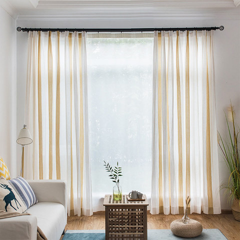 Sheer Curtain Sunnyside Luxury Linen Yellow Striped Voile Curtains 1