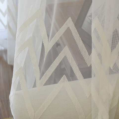 Wave Some Magic White Geometric Wave Voile Curtain 7