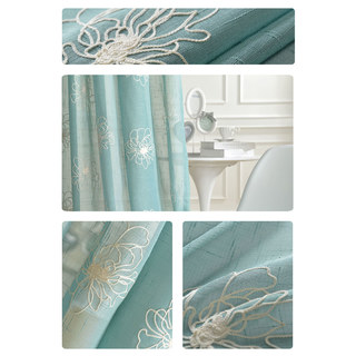 Flowers of the Four Seasons Teal Blue Embroidered Sheer Voile Curtain 3