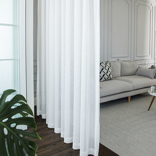 Sheer Curtain Glass Pearl Beaded White Voile Curtain 2