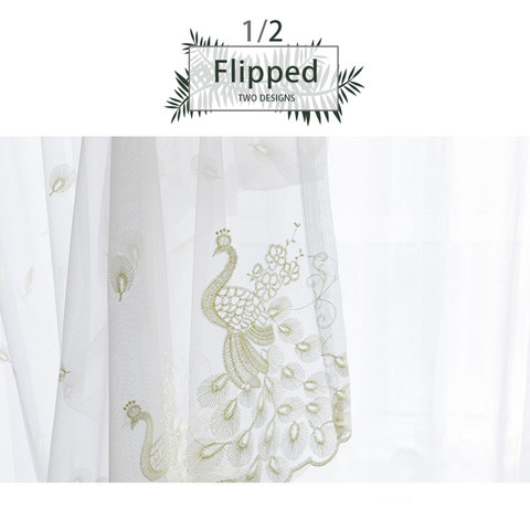 Sheer Curtain Flipped Pastel Yellow Peacock Embroidered Net Curtain 1