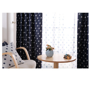 Classic Navy Blue Polka Dot Sheer Voile Curtain 3