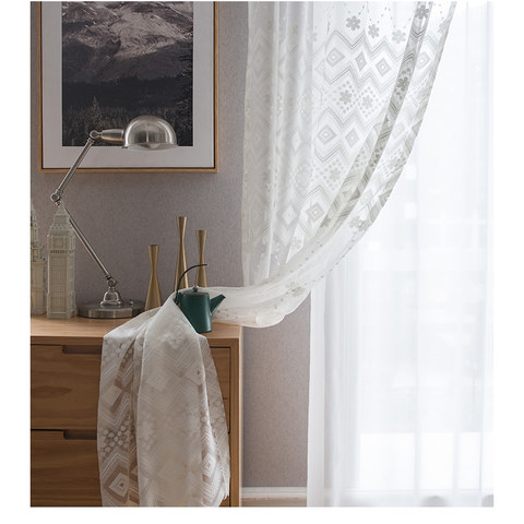 Lattice Square And Flower White Lace Net Curtain 3