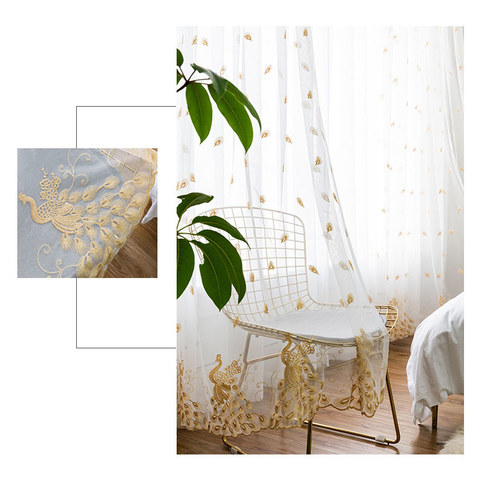 Sheer Curtain Flipped Gold Peacock Embroidered Net Curtain 1