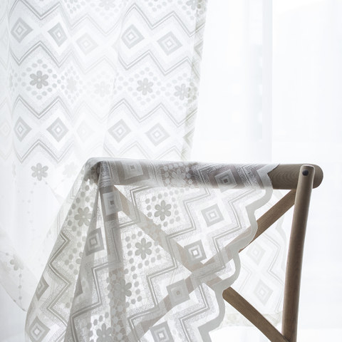 Lattice Square And Flower White Lace Net Curtain 1