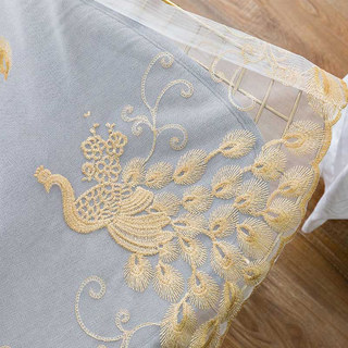 Sheer Curtain Flipped Gold Peacock Embroidered Net Curtain 5