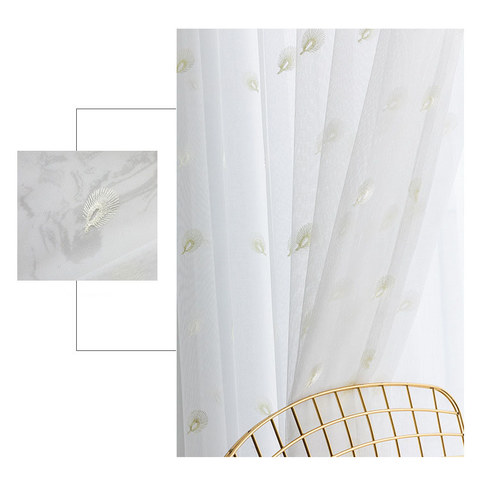 Sheer Curtain Flipped Pastel Yellow Peacock Embroidered Net Curtain 5