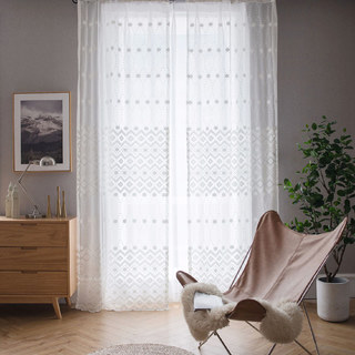 Lattice Square And Flower White Lace Net Curtain 2