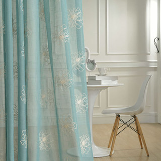 Flowers of the Four Seasons Teal Blue Embroidered Sheer Voile Curtain 1