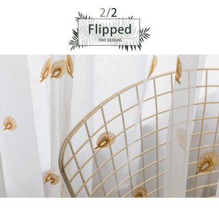 Sheer Curtain Flipped Gold Peacock Embroidered Net Curtain 6