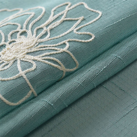 Flowers of the Four Seasons Teal Blue Embroidered Sheer Voile Curtain 4