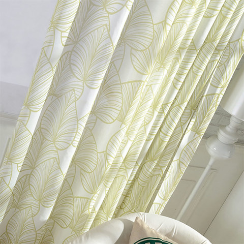 Semi Sheer Curtain Lush Palm Tree Paradise Green Voile Curtain 1
