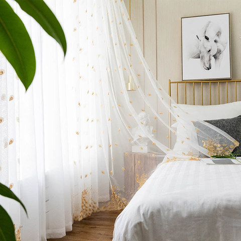 Sheer Curtain Flipped Gold Peacock Embroidered Net Curtain 2