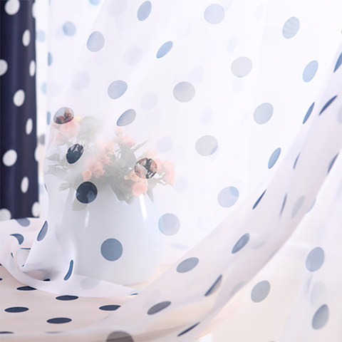 Classic Navy Blue Polka Dot Sheer Voile Curtain 1