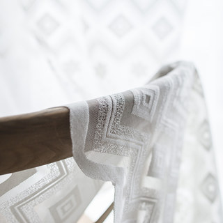 Lattice Square And Flower White Lace Net Curtain 5