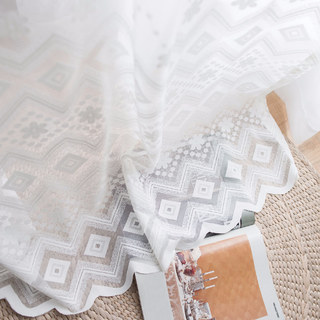 Lattice Square And Flower White Lace Net Curtain 4