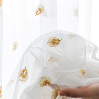 Sheer Curtain Flipped Gold Peacock Embroidered Net Curtain 4