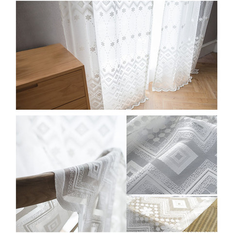 Lattice Square And Flower White Lace Net Curtain 8
