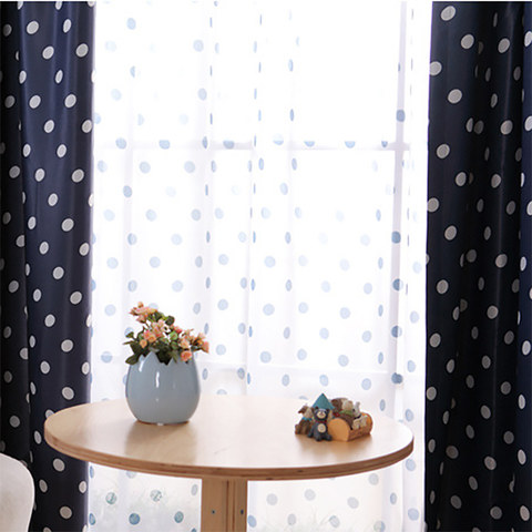 Classic Navy Blue Polka Dot Sheer Voile Curtain 2