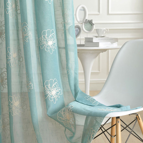 Flowers of the Four Seasons Teal Blue Embroidered Sheer Voile Curtain 2