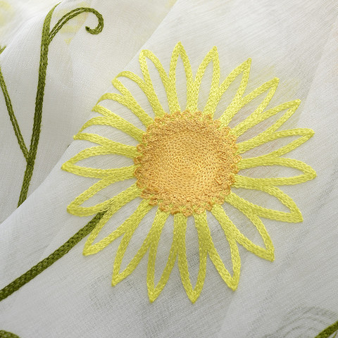 Yellow Sunflower and Butterfly Embroidered Sheer Voile Curtain 4