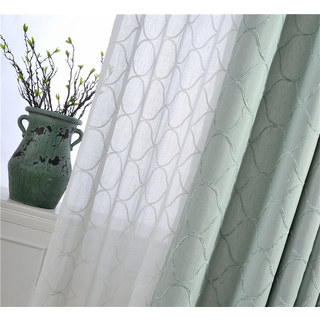 Wave Some Magic Embroidered Botanic Trellis Sheer Creamy White Sheer Voile Curtain 8