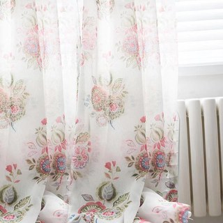 Blue Pink And Green Bunches Of Flowers Sheer Voile Curtain 2