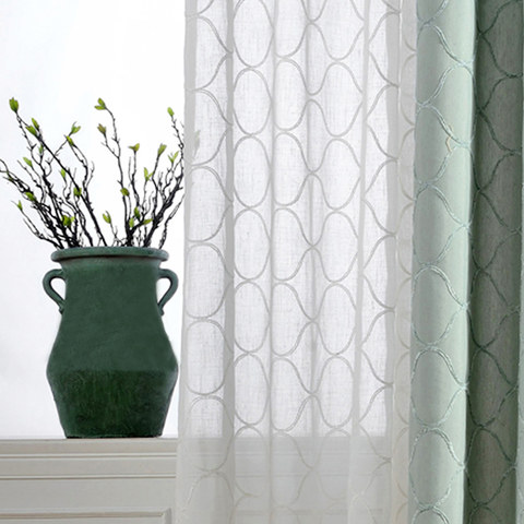Wave Some Magic Embroidered Botanic Trellis Sheer Creamy White Sheer Voile Curtain 1