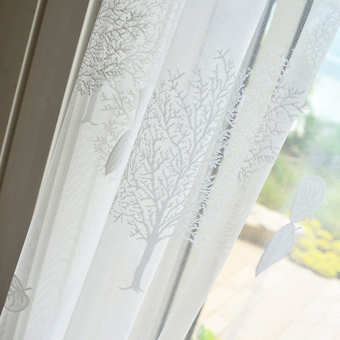 Net Curtain Woodland Walk White Tree And Leaf Jacquard Voile Curtains 3