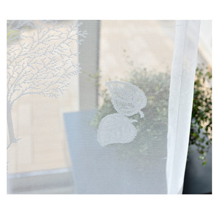 Net Curtain Woodland Walk White Tree And Leaf Jacquard Voile Curtains 5