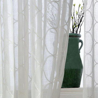 Wave Some Magic Embroidered Botanic Trellis Sheer Creamy White Sheer Voile Curtain 2
