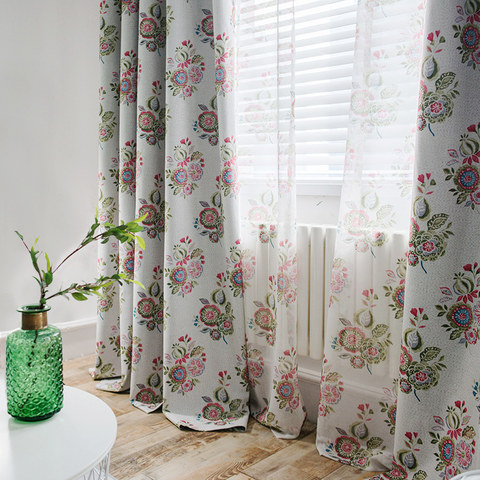 Blue Pink And Green Bunches Of Flowers Sheer Voile Curtain 6