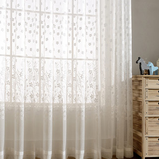 Net Curtain Spring Time Daisy Jacquard White Voile Curtains 3