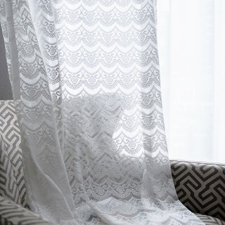 Net Curtain Chelsea Scalloped Design Semi Sheer White Jacquard Voile Curtain 1