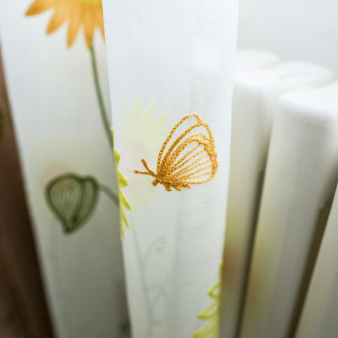 Yellow Sunflower and Butterfly Embroidered Sheer Voile Curtain 2