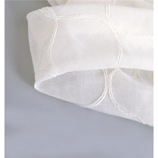 Wave Some Magic Embroidered Botanic Trellis Sheer Creamy White Sheer Voile Curtain 5