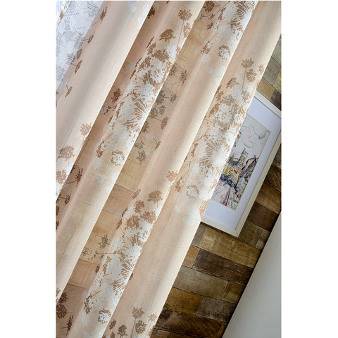 Blossom Latte Brown Cream And Beige Dandelion Semi Sheer Voile Curtain 3