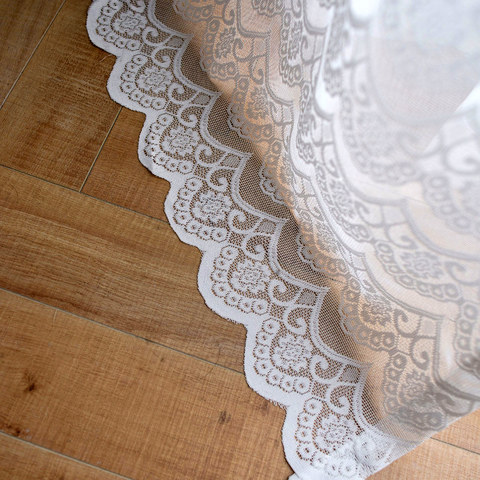 Net Curtain Chelsea Scalloped Design Semi Sheer White Jacquard Voile Curtain 4