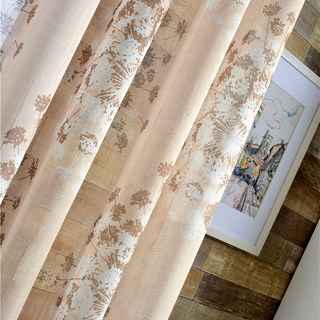 Blossom Latte Brown Cream And Beige Dandelion Semi Sheer Voile Curtain 2