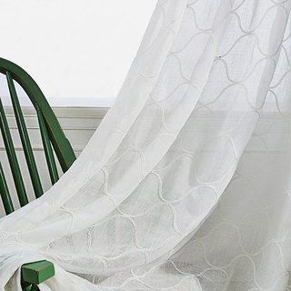 Wave Some Magic Embroidered Botanic Trellis Sheer Creamy White Sheer Voile Curtain 3