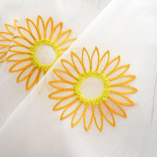 Yellow Sunflower and Butterfly Embroidered Sheer Voile Curtain 3