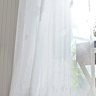 Net Curtain Woodland Walk White Tree And Leaf Jacquard Voile Curtains 1