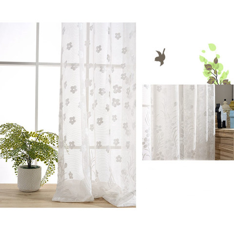 Net Curtain Spring Time Daisy Jacquard White Voile Curtains 8
